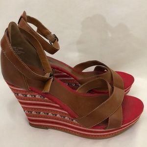 Mia Tan Leather Multi Color Wedge Sandals …